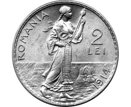 // 2 lei, argint de 835/1000, România, 1910-1914 // - Unul dintre cele mai frumoase motive dintre monedele de argint ale regelui Carol I este motivul ce înfăţişează o ţărancă torcând. Personajul feminin îmbrăcat în port popular, apare doar pe două monede,
