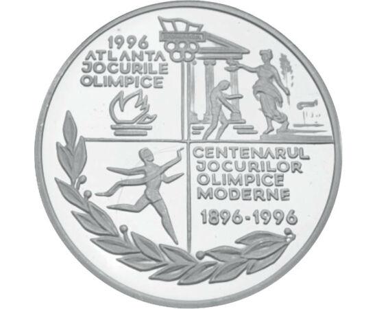 // 100 lei, argint de 925/1000, România, 1996 // - În 1896 au avut loc primele Jocuri Olimpice moderne, la Atena. După 100 de ani, grecii au vrut să organizeze din nou Jocurile Olimpice, dar s-a decis ca ele să aibă loc în Atlanta. Atena a câştigat dreptu
