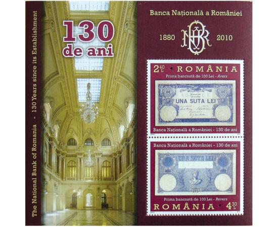 // 6,70 lei, România, 2010 // - BNR a fost înfiinţată în anul 1880, ca instituţie de credit, ce deţinea privilegiul de a emite moneda naţională, leul. Emisiunea aniversară prezintă ctitorul băncii şi prima bancnotă de 100 de lei.