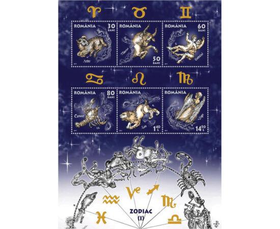 // 30, 50, 60, 80 bani, 1,40, 14,50 lei, România, 2011 // - Emisiune unică cu semne zodiacale. Pe coliţa dantelată apar figurile simbolice zodiacale, iar pe timbre zodiile sunt ilustrate după desenele marelui artist şi gravor Octavian Ion Penda.