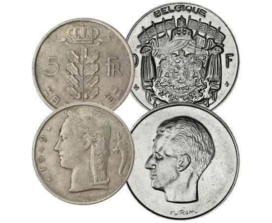 // 25, 50 centime, 1, 5, 10 franci, Belgia, 1948-1988 // - Belgia a devenit ţară independentă în 1830, iar în cursul războaielor mondiale a fost cucerită de către Germania. După ocupaţia germană, monedele nu s-au mai bătut din argint, ci din bronz şi cupr