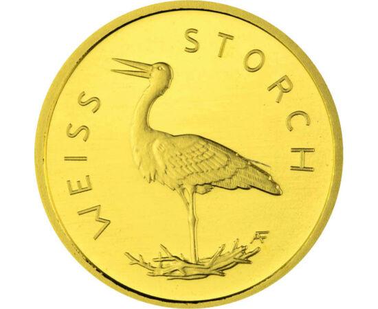 // 20 euro, aur de 999,9/1000, Germania, 2020 // - Germania ne prezintă păsările sale indigene pe o serie de monede din aur, cea mai recentă lansare a seriei fiind barza albă. Acest prieten înaripat nu este doar un vestitor al primăverii, erou al mitologi