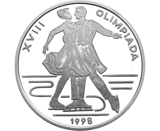 // 100 lei, argint de 925/1000, România, 1998 // - Monedă unică în memoria ultimei Olimpiade de iarnă a secolului trecut, organizată la Nagano. Moneda din argint înfăţişează patinajul artistic, prin reprezentarea unei perechi de patinatori la proba de dan