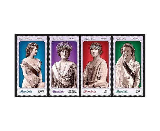 // 29,2 lei, România, 2020 // - Pe cele patru timbre ale emisiunii sunt ilustrate Reginele Elisabeta, Maria, Elena şi Ana, îmbrăcate în vestimentaţie de ceremonial, cu podoabe şi diademe.
