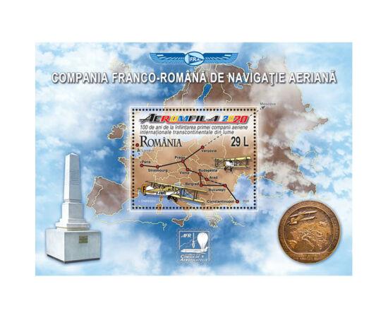 // 29 lei, România, 2020 // - În urmă cu 100 de ani a luat fiinţă Prima Companie de Navigație Aeriană Internațională Transcontinentală din lume pentru pasageri, poştă şi mărfuri. Pe timbru apare traseul de zbor.