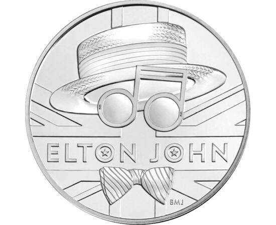 // 5 lire, Marea Britanie, 2020 // - Cei mai celebri artişti britanici sunt respectaţi ca regii, în ţara lor. Monetăria Regală Britanică a lansat o monedă comemorativă în cinstea compozitorului şi cântăreţului britanic Elton John, câştigătorul a cinci pre