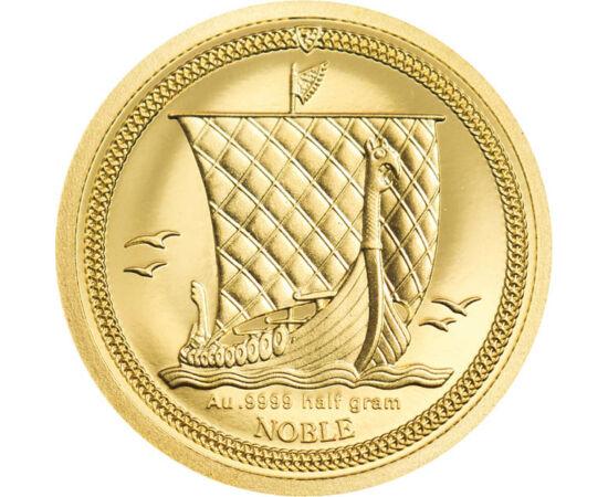 // 1/64 noble, aur de 999,9/1000, Insula Man, 2020 // - Vikingii sunt poporul cel mai marcant al istoriei Evului Mediu. Ei au fost comercianţi nordici, care au pornit la drum pe corăbii între secolele VIII-XI. Au ţinut întreaga Europă sub teroare cu atacu