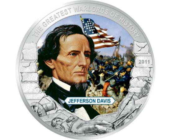 // 5 dolari, Liberia, 2011 // - Jefferson Davis este o figură definitorie în războiul civil american. Cariera sa militară a culminat în 1846, la izbucnirea războiului mexicano-american. A fost şi ministru de război, iar în anul 1861, a fost ales primul pr