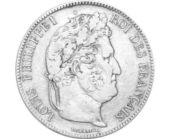 // 5 franci, argint de 900/1000, Franţa, 1831-1848 // - Ludovic-Filip a urcat pe tron după revoluţia din iulie 1830, însă a trebuit să părăsească ţara în urma revoluţiei din februarie 1848. Sub domnia lui, tricolorul francez a devenit steagul oficial al n