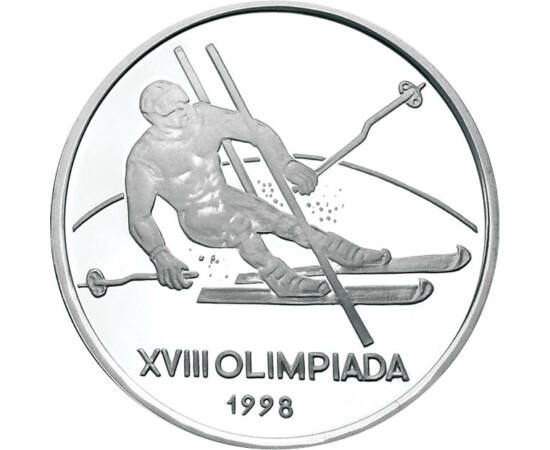 // 100 lei, argint de 925/1000, România, 1998 // - Emisiune din argint în amintirea Olimpiadei de iarnă din secolul trecut, organizată la Nagano. Moneda de calitate proof înfăţişează proba de schi alpin, prin prezentarea unui sportiv trecând printre două