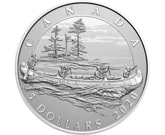 // 5 dolari, argint de 999,9/1000, Canada, 2020 // - Cea mai veche companie canadiană, HBC sau Hudson's Bay Company, împlineşte 350 de ani. Cu această ocazie, a fost lansată o monedă comemorativă decorată cu o canoe, cu negustori în drumul lor spre centru