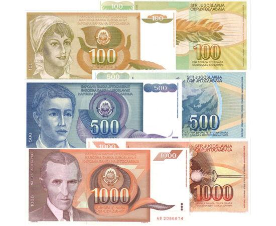 // 10, 50, 100, 500, 1000 dinari, Iugoslavia, 1990 // - Această serie monetară emisă în 1990, în pragul izbucnirii crizei iugoslave, este o amintire istorică a unei Iugoslavii unitare. Pe lângă figura lui Nikola Tesla, bancnotele sunt decorate cu portrete