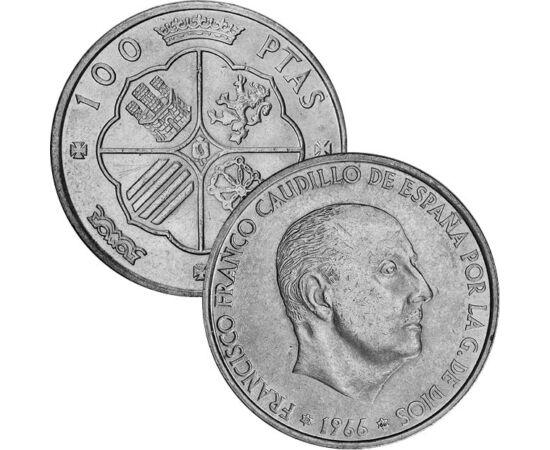 """// 50 centimo, 1, 100 peseta, Spania, 1966 // - Deşi generalul dictator nu s-a încoronat, ţinea o """"curte"""" comparabilă cu a unui rege. Setul de monede este mărturia celei de-a doua perioade a """"domniei"""" sale, era războiului rece, când Occidentul, în pofida"""