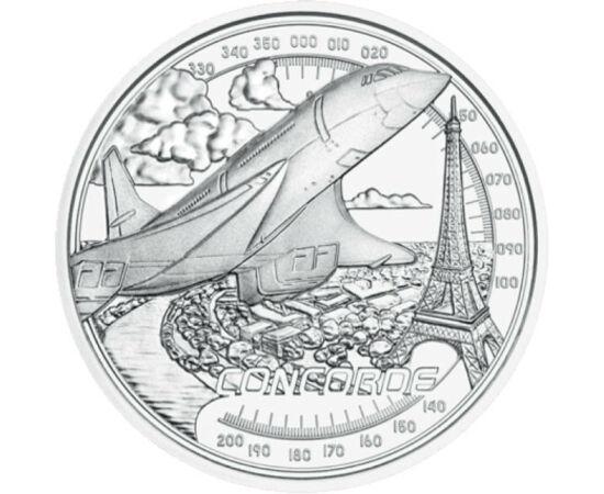 // 20 euro, argint de 925/1000, Austria, 2020 // - Acum 17 ani, în data de 26 noiembrie 2003, a decolat pentru ultima oară aeronava Concorde, una dintre cele mai rapide avioane din lume, care a parcurs traseul Paris-New York în doar 3 ore. Pe această mone