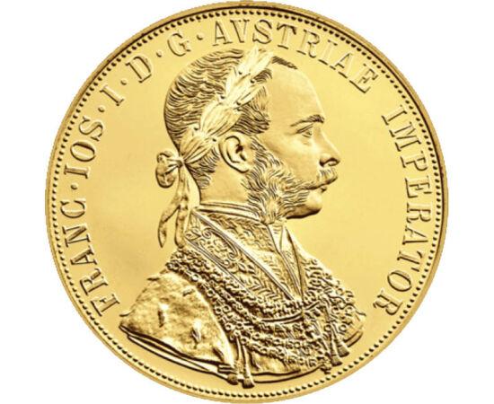 // 4 ducaţi, replică, aur de 986/1000, Monarhia Austro-Ungară, 1915 // - Colecţionarea ducatelor din aur este incontestabil cea mai nobilă ramură a numismaticii, acest reper monetarfiind echivalentul siguranţei şi durabilităţii valorilor. Moneda de 4 duc