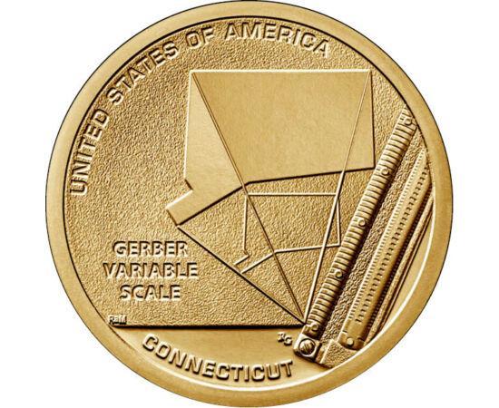 """// 1 dolar, SUA, 2020 // - Scala variabilă Gerber este un instrument des utilizat de către ingineri şi arhitecţi încă din anii 1950. Moneda statului Connecticut – parte a colecţiei """"Inovatori americani"""" – îl prezintă pe Joseph Gerber cu invenţia lui revol"""
