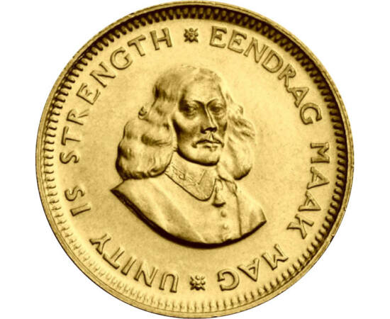 // 1 rand, aur de 917/1000, Republica Africa de Sud, 1961-1983 // - În secolul al XVII-lea, Olanda a avut mai multe colonii în Asia, America şi Africa. Pe această monedă de aur din Africa de Sud apare portretul lui Jan van Riebek, cel care a întemeiat ora