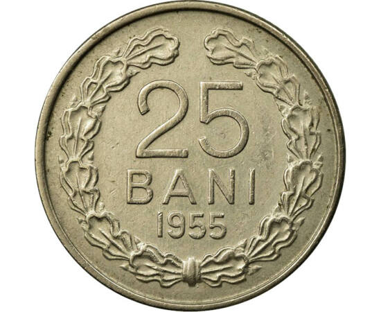 // 25 bani, România, 1953-1955 // - Republica Populară Română a fost numele oficial al ţării, de la abdicarea forţată a regelui Mihai, până la proclamarea Republicii Socialiste România. Pe reversul monedelor, conform normelor ortografice din anul 1954, nu