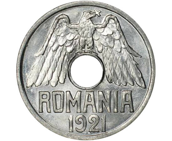 // 25 bani, România, 1921 // - Prima monedă europeană cu gaură a fost bătută în anul 1901, în Belgia, utilizarea acestor monede răspândindu-se apoi cu repeziciune în toată Europa. Ţara noastră a introdus şi ea în scurt timp baterea monedelor cu gaură, car