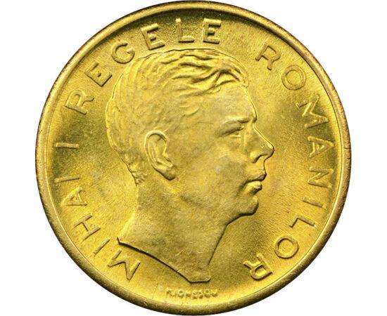 // 200 lei, România, 1945 // - Moneda de 200 de lei, bătută la Bucureşti, a apărut după Al II-lea Război Mondial şi a fost în circulaţie numai în anul 1945. După această perioadă a fost o inflaţie enormă, banii devalorizându-se de la o zi la alta.