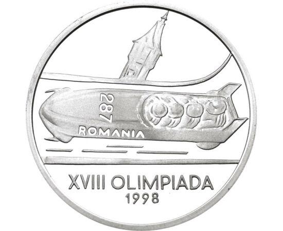 // 100 lei, argint de 925/1000, România, 1998 // - JO de iarnă din 1988 au fost organizate la Nagano, unde a participat şi ţara noastră. Moneda de argint înfăţişează echipajul românesc de bob pentru patru persoane.