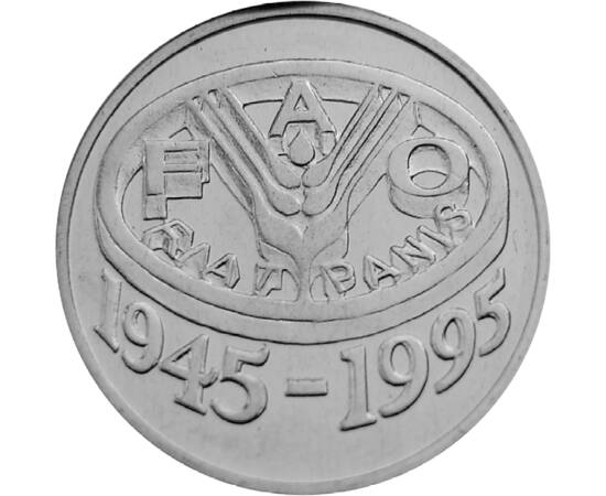 // 10 lei, România, 1995 // - Unul dintre cele mai importante programe ale FAO este Programul Alimentar Mondial. Scopul acestuia este creşterea nivelului de trai, eradicarea sărăciei şi a foametei. Ţara noastră a comemorat semicentenarul de la înfiinţarea