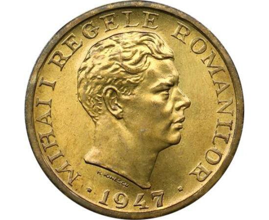 // 10000 lei, România, 1947 // - Această monedă a fost în circulaţie câteva luni de zile, înaintea înfăptuirii reformei monetare. Inflaţia a luat proporţii îngrijorătoare, banii s-au devalorizat de la o zi la alta. Criza economică din anii 1945-1947 a fos