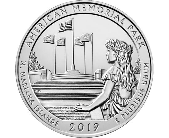 // 25 cenţi, SUA, 2019 // - Recucerirea Insulelor Marianelor din apropierea coastelor Japoniei de către SUA a costat viaţa a 5.204 militari şi civili. Parcul memorial a fost construit la 50 de ani după război, aici fiind enumeraţi toţi eroii căzuţi. Pe mo