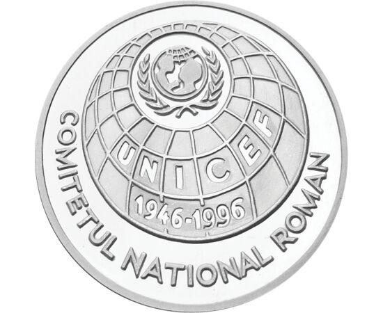 // 100 lei, argint de 925/1000, România, 1996 // - Înfiinţat în anul 1946, UNICEF-ul este apărătorul drepturilor copilului. Programele sale se concentrază asupra copiiilor nevoiaşi din cele mai sărace ţări. Moneda de argint aniversează 50 de ani de la înf