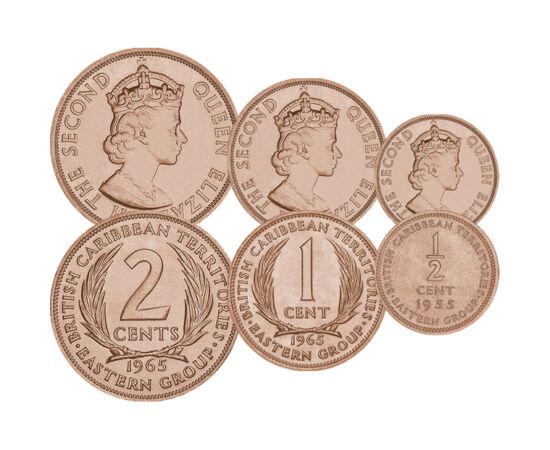 // 1/2, 1, 2 cent, Teritorii britanice din Caraibe, 1955-1965 // - Insulele Britanice din Marea Caraibelor nu formează un stat, ci sunt doar colonii britanice, formaţiuni administrative cu o valută proprie. Trăsătura specială a acestor monede este că nume