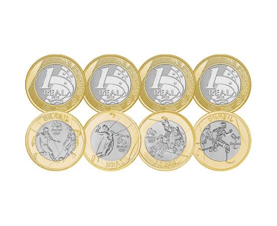 // 4x1 real, Brazilia, 2014 // - Brazilia a adus omagiu Jocurilor Olimpice din Rio din 2016, prin introducerea în circulaţie a monedelor ornamentate cu motivele unor ramuri sportive. Monedele bimetale de 1 real popularizează handbalul, fotbalul, judoul şi