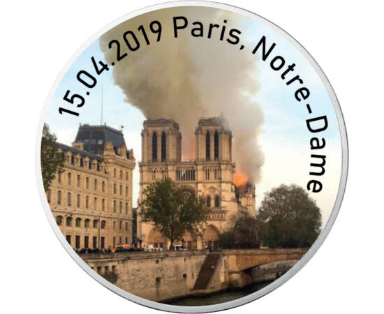 """// 10 euro, argint de 333/1000, Franţa, 2016 // - Pe 15 aprilie 2019, la Catedrala Notre-Dame, unul dintre monumentele emblematice ale Parisului, a izbucnit un incediu devastator. Acoperişul şi turla """"săgeată"""" s-au prăbuşit, dar structura, construită în u"""