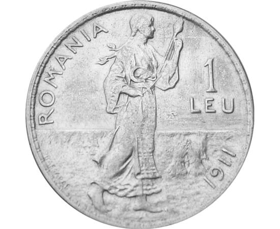 // 1 leu, argint de 835/1000, România, 1910-1914 // - Una dintre cele mai frumoase motive ale monedelor de argint este motivul ce înfăţişează o ţărancă torcând. Personajul feminin îmbrăcat în port popular, apare doar pe două monede, reprezentând până în p