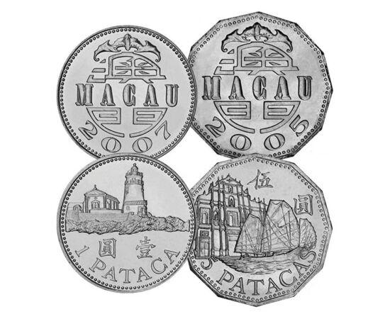 // 10, 20, 50 avo, 1, 5 pataca, Macao, 1992-2007 // - Macao este renumit datorită jocurilor de noroc, din această cauză fiind denumit şi Monte Carlo sau Las Vegas al Orientului. Monedele sale oglindesc tradiţiile şi minunile arhitecturale ale ţării.