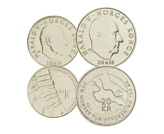 // 50 öre, 1, 5, 10, 20 coroane, Norvegia, 1994-2018 // - Deşi trei sferturi din terenul ţării este nefertil, Norvegia este o ţară bogată. Sursa bogăţiei este marea. Pescuitul, marina comercială şi industria de ulei produce bunurile ţării. Unele monede su