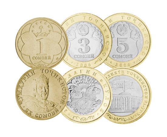 """// 5, 10, 20, 25, 50 diram, 1, 3, 5 somoni, Tadjikistan, 2001-2006 // - Somoni-ul îşi trage numele de la Ismail Samani, fondatorul dinastiei samanide. Pe reversul monedelor divizionare apare stema cu 7 stele. Potrivit tradiţiei, """"şapte"""" este un cuvânt mag"""