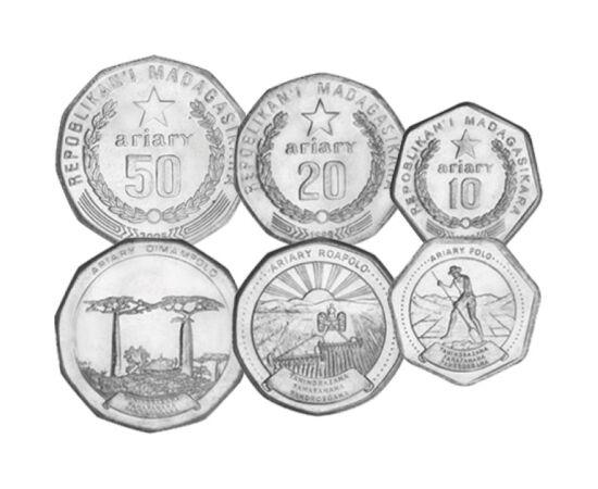 // 1, 2, 5, 10, 20, 50 ariary, Madagascar, 1996-2016 // - Este un fapt surprinzător, dar Madagascar este a patra insulă din lume, ca mărime. A fost o colonie franceză, din această cauză moneda oficială rămânând până astăzi francul. Pe setul de monetărie s