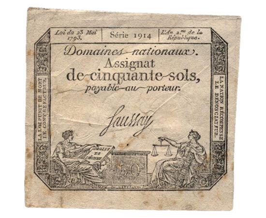 // 50 sol, Franţa, 1793 // - Denumirea acestei bancnote din era Revoluţiei Franceze vine din cuvântul francez l`assignation (ordin de plată). Au fost emise cu portretul lui Ludovic al XVI-lea până în anul 1792, iar după aceea, cu simbolurile republicii. O