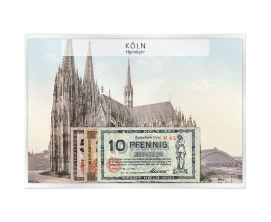 // 10, 25, 50 pfennig, Imperiul German, 1921 // - După Primul Război Mondial, Germania din lipsă de metale, a început să tipărească bancnote cu valoare nominală mică. Bancnotele emise de administraţii locale şi întreprinderi publice erau necesare pentru f