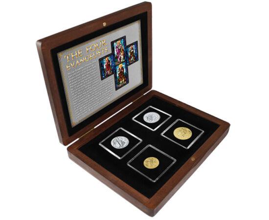 // 10, 20, 50, 200 lire, Vatican, 1985 // - Un set unic de monede în amintirea celor patru evanghelişti – Matei, Marcu, Luca şi Ioan, fiecare dintre ei reprezentat alături de simbolul asociat. Monedele din Vatican au fost emise în 1985, în timpul pontific