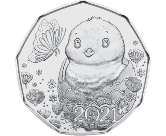 // 5 euro, argint de 925/1000, Austria, 2021 // - În mod tradiţional, cu ocazia sărbătorilor pascale Monetăria Austriei emite o monedă comemorativă. În acest an renaşterea naturii este simbolizată de un puişor, care îşi scoate căpşorul dintr-un ou de Paşt