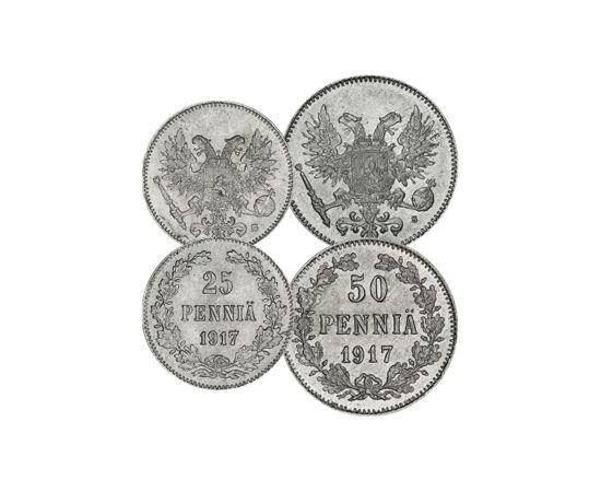 // 1, 5, 10, 25, 50 pennia, Finlanda, 1917 // - În anul 1809, Alexandru I al Rusiei a ocupat Finlanda, care a fost timp de 100 de ani cel mai mare ducat autonom al Imperiului Rus. În 1917 Finlanda şi-a recăpătat independenţa, însă pe monede apare stema Ma