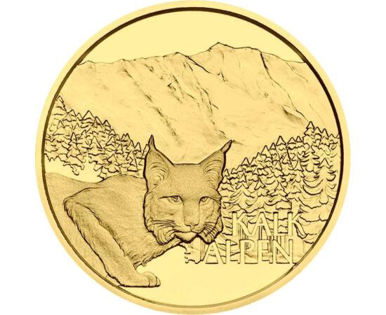 // 50 euro, aur de 986/1000, Austria, 2021 // - Această monedă de aur ilustrează Parcurile naţionale din Alpii austrieci, Kalkalpen, cu treizeci de rezervaţii forestiere cu specii rare de plante şi animale, dintre care două figurează şi pe această monedă: