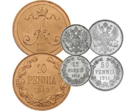 1, 5, 10, 25, 50 pennia, 1895-1917 Finlanda