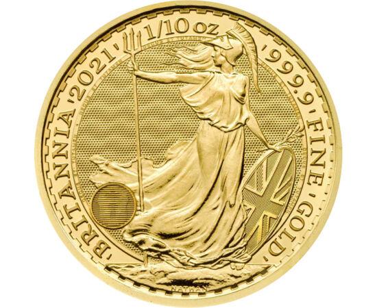 10 lire,Frunză arţar,1/10uncAu,2021 Marea Britanie