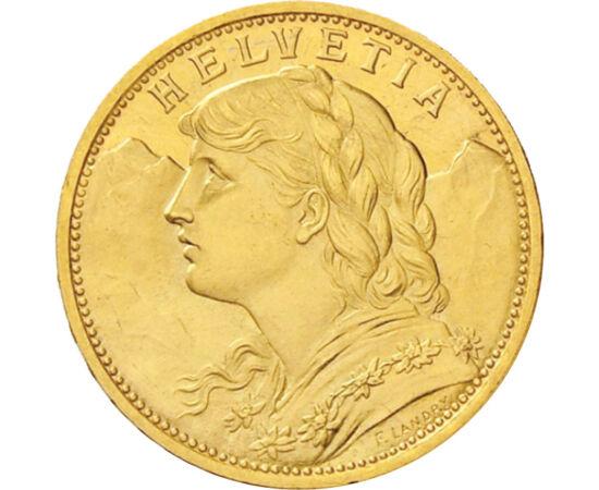 20 franci, Helveţia, 1883-1949, aur Elveţia
