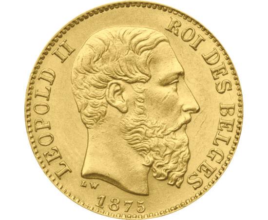 20 franci, Leopold II,Au,1866-82 Belgia