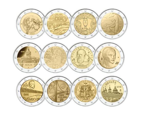 // 12x2 euro, Uniunea Europeană, 2002-2020 // - Ţările din zona euro pot emite doar două monede comemorative de 2 euro pe an. Aversul acestora sunt identice cu monedele obişnuite de 2 euro, dar partea naţională comemorează aniversări sau prezintă atracţii