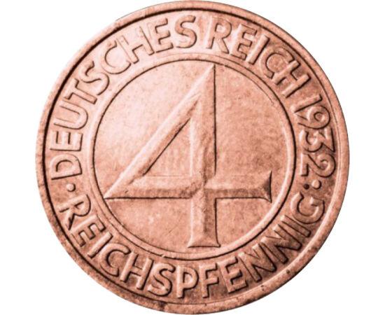 4 pfennig, Weimar, 1932 Republica de la Weimar