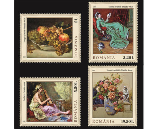 Teodor Aman - set 4 timbre România